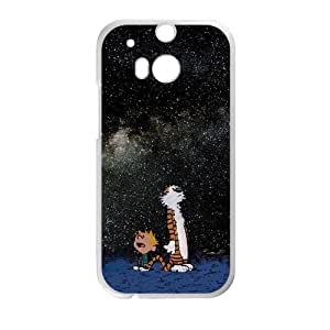 Calvin and Hobbes Starry Night HTC One M8 Cell Phone Case White 8You258606