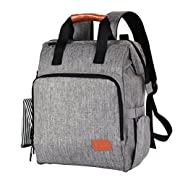 Diaper Bag Backpack, F40C4TMP Multi-Function Lightweight with Changing Pad Stroller Straps Insulated Pocket YKK Zipper Travel Nappy Bags for Mom Dad Men Baby Tote Travel Bags Large (Grey D1)