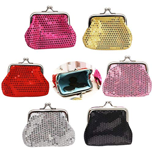 Sparkly Coin Purses, Set of 6 Cute Change Wallets, Attractive Jewelry Pouch for Kids Party, Easter Holiday