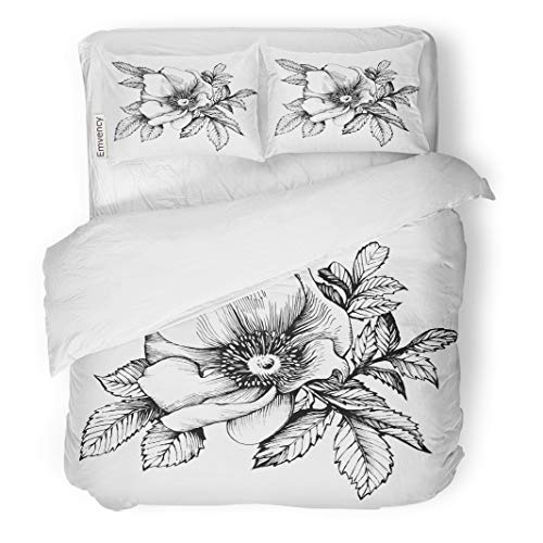 Emvency Decor Duvet Cover Set Twin Size Graphic The Branch Flower Dog Rose Rugosa Coloring Book Page 3 Piece Brushed Microfiber Fabric Print Bedding Set Cover -