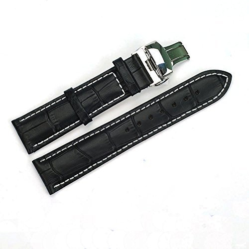 ACUNION™ 18mm Cow Leather Watch Strap Push Button Butterfly Deployment Buckle Watch Band Black