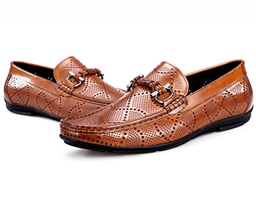 Herren Lederschuhe Atmungsaktive Erbsen-Schuhe männliche beiläufige Schuhe höhlen Lounger-britische Art-Männer Lederschuhe Herrenschuhe ( Farbe : Braun , größe : EU39/UK6 ) Braun