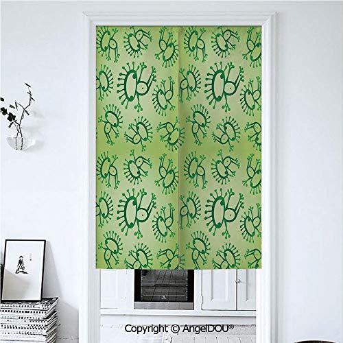 AngelDOU Green Door Curtains Home Decor Modern Valances Doodle Style Drawing of Alien Frogs Fantasy Theme Watercolors Cartoon Like Pattern Kids Room Divider for Bedroom Kitchen. 33.5x59 inches