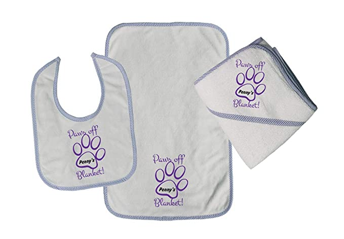 0baf3c8a2e744 Personalized Custom Paws off Blanket! Cotton Boys-Girls Baby Bib-Burb-Towel