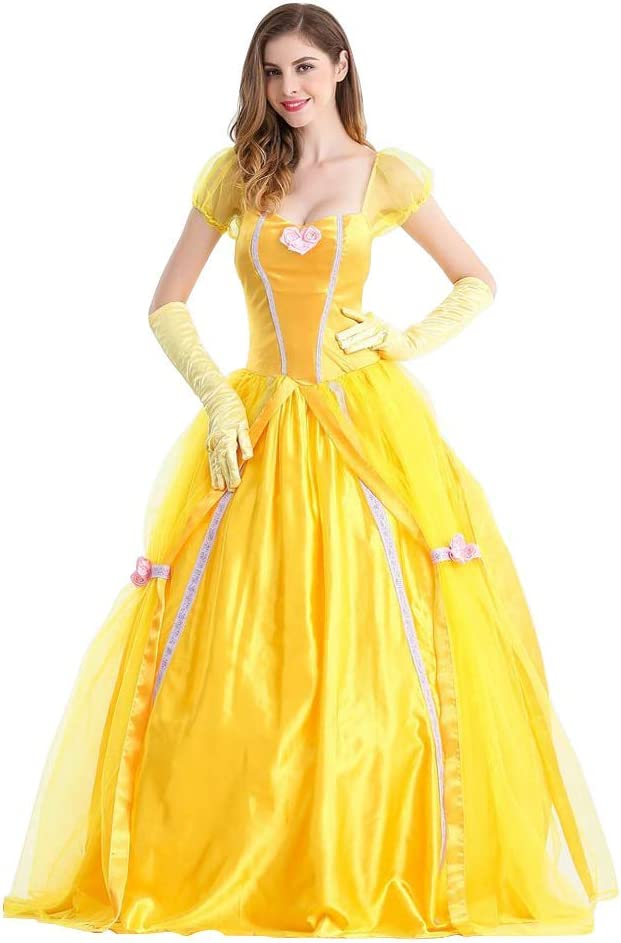 OwlFay Disfraz de Princesa Belle para Mujer Beauty and Beast ...
