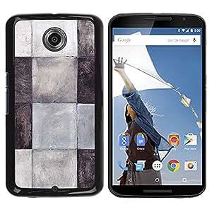 Paccase / SLIM PC / Aliminium Casa Carcasa Funda Case Cover para - Tiles Black White Grey Pattern Clean - Motorola NEXUS 6 / X / Moto X Pro