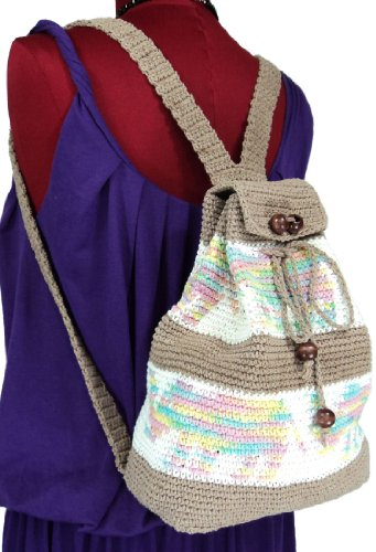 Amazon.com: New Brown Small Handmade Cotton Crochet Backpack ...