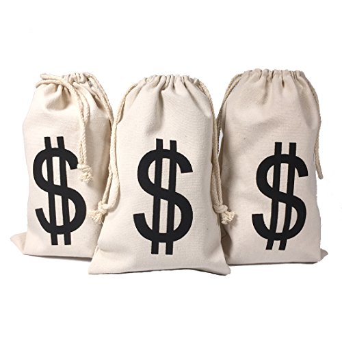 Drawstring Canvas Money Bag Dollar Sign