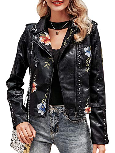 BerryGo Women's FloralEmbroideredFauxLeatherMotoJacketCoat Black,XL