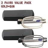 SOOLALA Metal Aolly Frame Folding Magnifying Compact Reading Glasses Reader w/Case (2 Pair/Gold + Gun, 1.75)