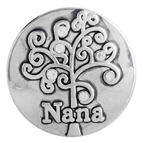 Rockin Angels Silver Tree Nana Clear Rhinestone 20mm Snap Charm for Ginger Snaps ()