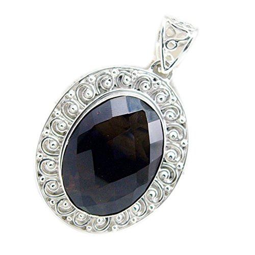 CaratYogi Natural Gemstone Smoky Quartz Silver Pendant Charm Oval Shape Checker Cut Handmade Necklace