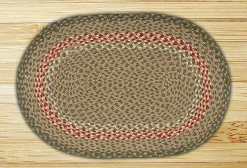 Capitol Earth C-09 Green Burgundy Oval Braided Rug - 8 x11