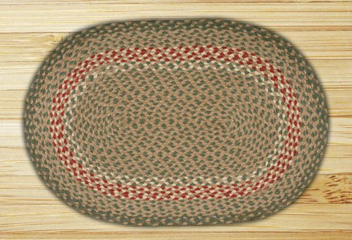 Earth Rugs C-009 Home Decorative Oval Shape Braided Jute Flo