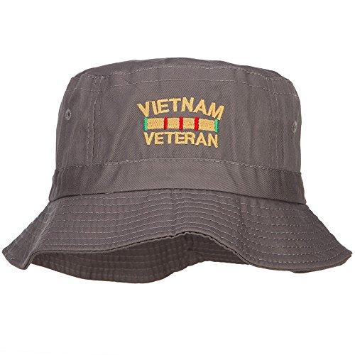 e4Hats.com Vietnam Veteran Embroidered Bucket Hat - Charcoal OSFM (Streetwear Bucket Hats)