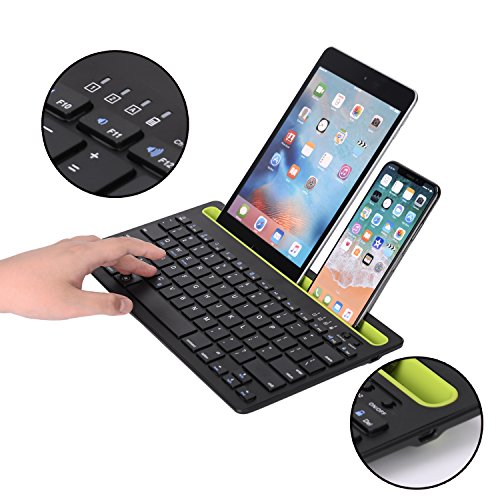 Sky Hiker Bluetooth keyboard, Dual Channel Multi-device Universal Bluetooth Rechargeable Keyboard with Integrated Stand for for Windows Android iOS PC Tablet Smartphone Macbook by Sky Hiker (Image #5)