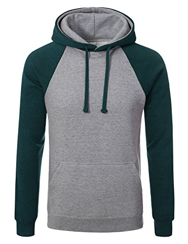 JD Apaprel Premium Heavyweight Two-Tone Raglan Sleeve Pullover Hoodie M H grey teal