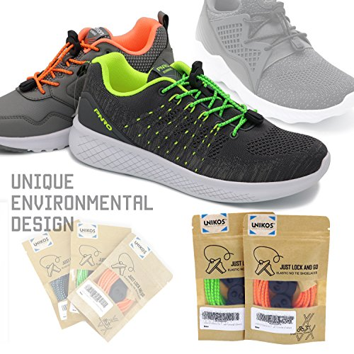No Tie Shoelaces, UNIKOS Elastic Shoe Laces for Kids and Adults for Sneaker Marathon Running Working Shoe Hiking Boots (Gray White . BK) by UNIKOS (Image #8)