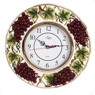 Wine Grapes Decorative Novelty Fruit Fruity Themed Wall Clock