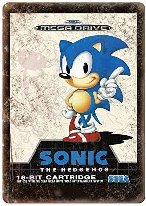 Amazon Com Sega 16 Bit Sonic The Hedgehog Mega Drive Tin Sign Metal Sign Tin Sign 7 8x11 8 Inch Home Kitchen