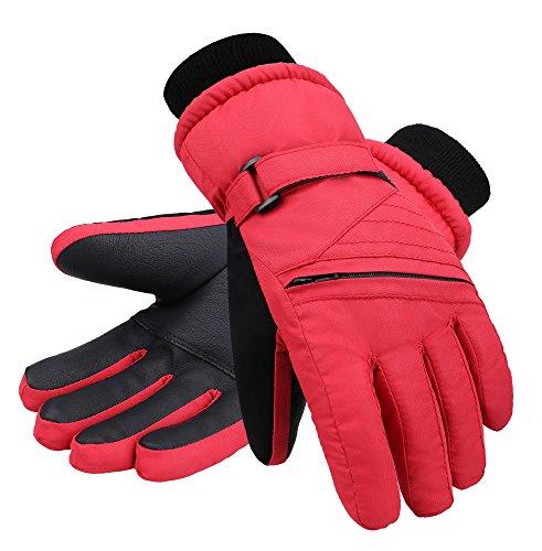 Andorra Kids' Zippered Pocket Ski & Snowboarding Gloves,Red,M(7-9 (Kids Snowboarding)
