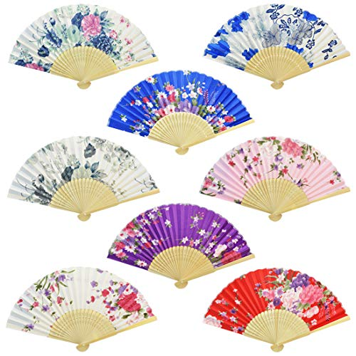 Miayon Floral Folding Hand Fan, 8Pcs Japanese Vintage Retro Style Folding Fan with Wooden Ribs Dancing Wedding Party Decor Fan (Random Color) (8pcs-Chinese Style with Wooden Rib) -