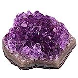 SUNYIK Natural Amethyst Quartz Crystal Cluster,Druzy Geode Specimen Gemstone Sculpture Sphere(0.1-0.2lb)