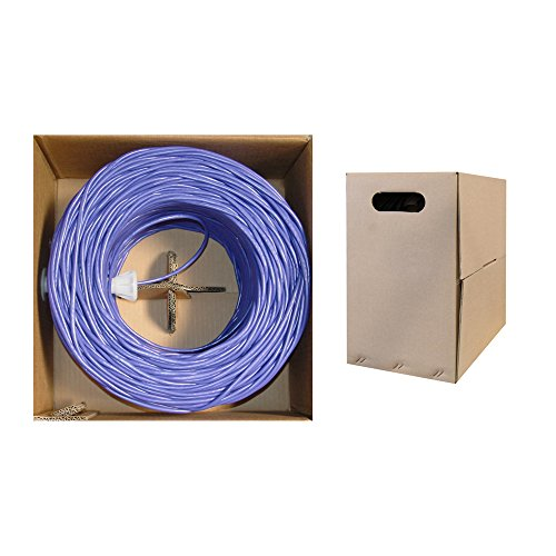 Offex Bulk Cat6 Ethernet Cable, Solid, UTP, Pullbox, 1000-Foot, Purple (OF-10X8-041TH) by Offex