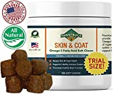 Natural Omega 3 Fish Oil for Dogs & Cats Soft Chew Supplements with Omega-3 Fatty Acids (TRIAL SIZE - 10 Count) EPA, DHA, Vitamin E for Healthy Skin, Coat, Joints, Brain Function, Made in the USA