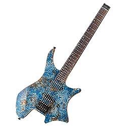 EART Electric Guitar Headless fix Bridge for 6 String Electric Guitar, Right Solid-Body Electric Guitar, Multicoloured