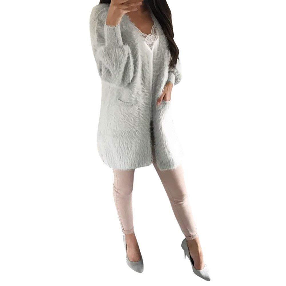 Abrigos para Mujer Chaqueta Outwear Abrigo de Invierno Moda Mujeres Casual Bolsillos de Manga Larga Jerseys Cardigan Cardigan Parka Casual Escudo Suelto ...