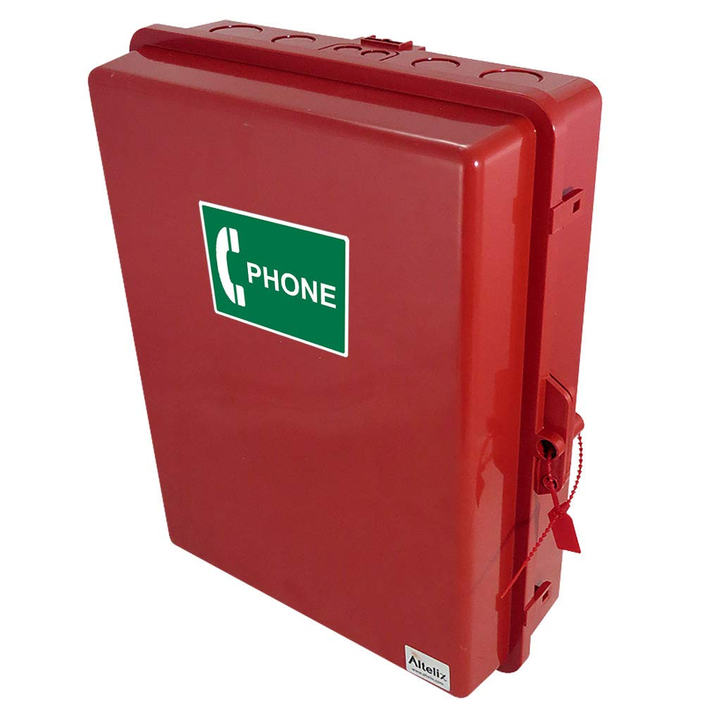 Altelix Red Outdoor Weatherproof Service Phone Call Box (14'' x 11.2 x 4.0'' Inside Space) Polycarbonate + ABS NEMA 3X
