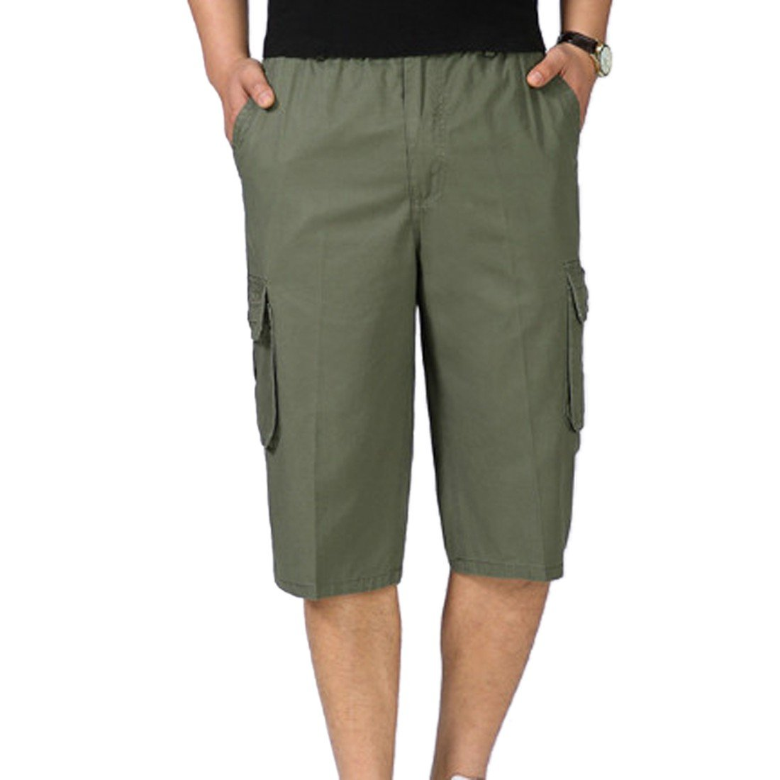 Men's Classic-Fit Cargo Short Cotton Loose Fit Multi Pocket Cargo Shorts E3096S0286