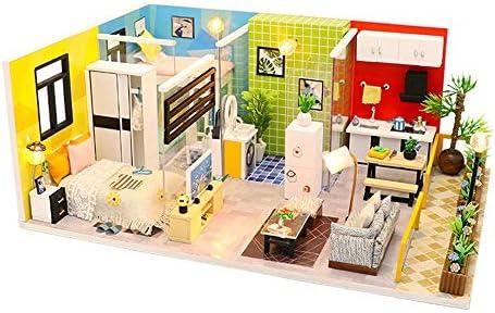 DIY ドールハウス 女性と女の子のためのDIYミニチュアルームセット、木工芸構築キット木製モデルの構築セットミニハウス工芸ベスト誕生日プレゼント (Color : Multi-colored, Size : 28x19x11.3cm)