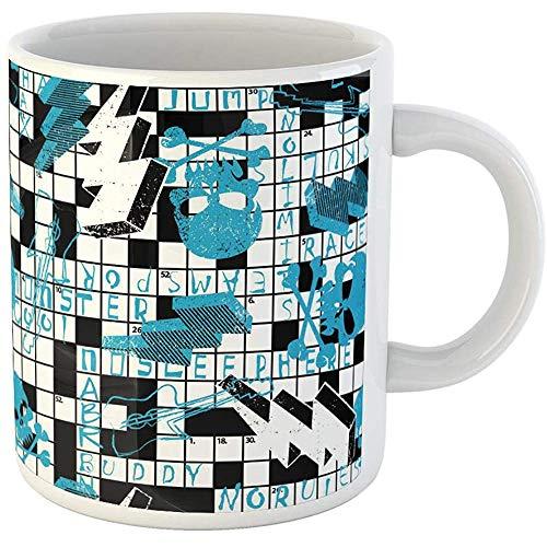 - Funny Gift Personalized Coffee Mug Scribble Crossword Puzzle Skulls and Lightning Bolts Boy 11 Oz Ceramic Coffee Mug Tea Cup Souvenir