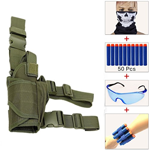 Kids Adjustable Tactical Leg Holster Kit (comes with 50pcs Blue Foam Darts+Protective Goggles+Seamless Skull Face Mask+2pcs Refill Darts Wrist Belt) for Nerf Toy Gun N-strike Elite Series (Army (Military Toy Guns)