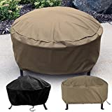 Sunnydaze Heavy-Duty Weather-Resistant Round Fire Pit Cover with Drawstring and Toggle Closure, Size Options Available