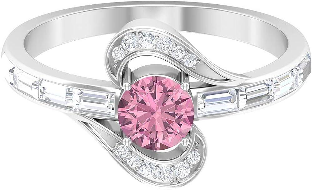 Anillo de compromiso de turmalina, piedras preciosas redondas de 0,91 quilates, anillo de promesa solitario de diamante HI-SI de 5 mm, anillo de diamante baguette, 14K Oro