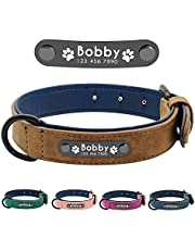 Didog Personalized Leather Padded Custom Dog Collar with Nameplate and D Ring, Engraved Dog Collars for Small Medium Large Dogs,Green L Size