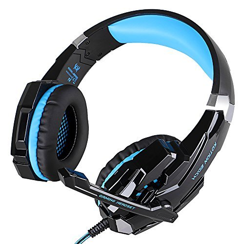 KOTION EACH G9000 3.5mm Game Gaming Headphone Headset Earphone Headband with Microphone LED Light for Computer Tablet Mobile Phones PS4 by Senhai- Black and Blue