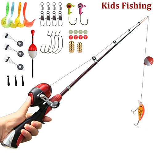 kids fishing pole Spincast Reel Easiest Kids Fishing Rod 55 inches with Tackles Ready to Go (Poles Kids)