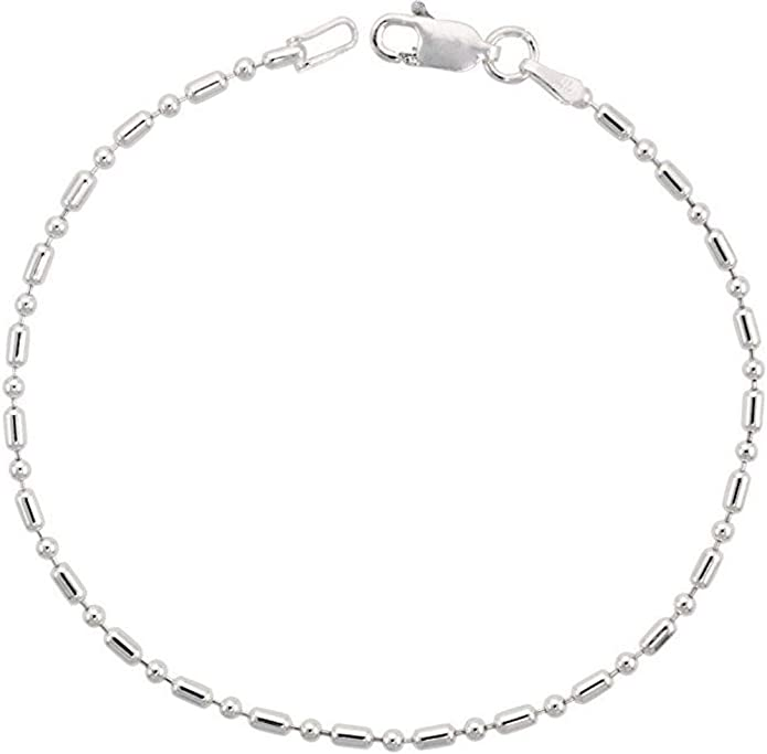 Sizes 9-10 inch Sterling Silver Italian Pallini Bead Bar Ball Chain Anklet 1.5mm Nickel Free
