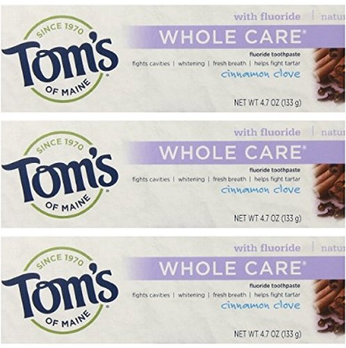 Tom's of Maine Natural Whole Care Toothpaste with Fluoride, Cinnamon Clove, 3 Count
