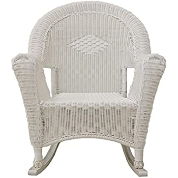 Amazon Com Lb International White Resin Wicker Rocking