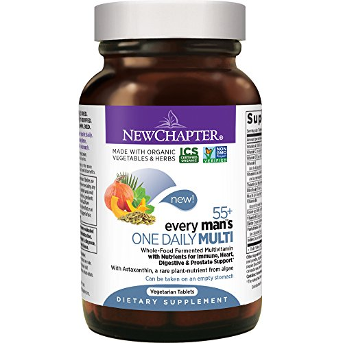 New Chapter Multivitamin for Men 50 plus - Every Man's One Daily 55+ with Fermented Probiotics + Whole Foods + Astaxanthin + Vitamin D3 + B Vitamins + Organic Non-GMO Ingredients  - 48 ct