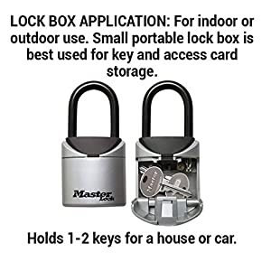 Master Lock Lock Box, Set Your Own Combination Portable Key Safe, 2-3/4 in. Wide, 5406D