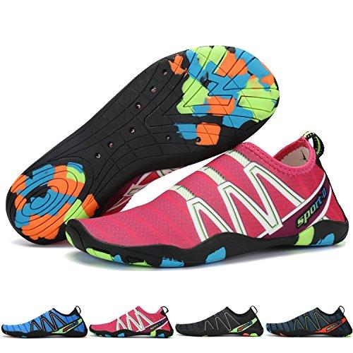 TUCSSON Zapatos de Agua Unisex Zapatos de Playa Descalzo Aqua Zapatos Zapatos de natación para Piscina Surf Yoga Buceo Descalzo Aqua Calcetines Hombre Mujer Rosa