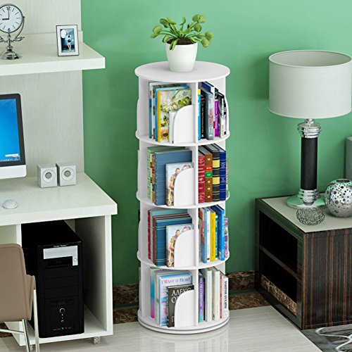 JX&BOOS Bookshelf,Creative Swivel Bookcase 360bookrack Modern Simple Shelf Children's Corner Simple Table Student Landed-C 46x46x128cm(18x18x50)