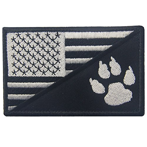 Dog Velcro Patches - Tactical US Flag with Tracker Paw Patriot Milltary Embroidered Applique Morale Hook & Loop Patch - White & Black
