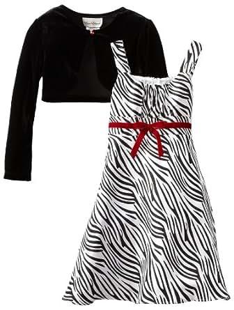 Rare Editions Big Girls' Zebra Print Dress with Jacket, Black/White, 7